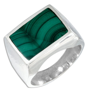 Sterling Silver Men's Rectangular Simulated Malachite Ring