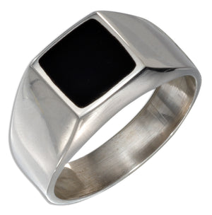 Sterling Silver Men's Square Obsidian Ring