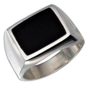 Sterling Silver Men's Rectangular Obsidian Ring