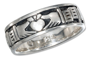 Sterling Silver Claddagh Heart in Hands Band Ring