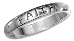 "Sterling Silver ""Faith"" Band Ring"