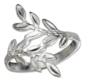 Sterling Silver Diamond Cut Leaves Ring