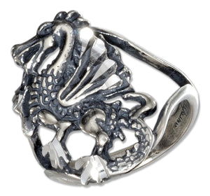 Sterling Silver Dragon Ring with Open Shank
