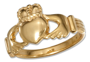 Sterling Silver 18kt Gold Plated Claddagh Heart in Hands Ring