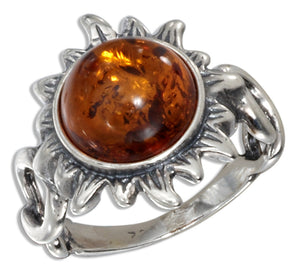 Sterling Silver Antiqued Honey Amber Sun Ring with Twisted Shank