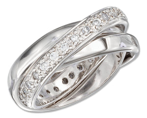 Sterling Silver Womens 3mm Three Band Cubic Zirconia Slide Ring