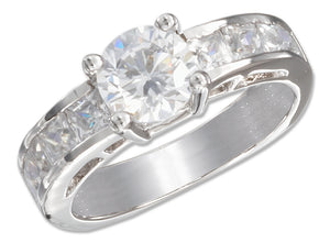 Sterling Silver 7mm Round Cubic Zirconia Ring with Princess Cut Cubic Zirconias