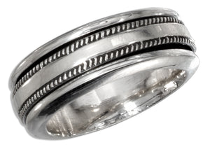 Sterling Silver Mens Worry Ring with Coin Edge Spinning Band