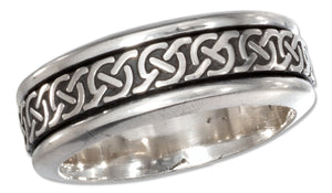 Sterling Silver Mens Worry Ring with Celtic Knots Spinning Band