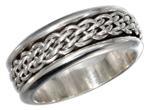 Sterling Silver Mens Antiqued Worry Ring with Woven Spinning Band