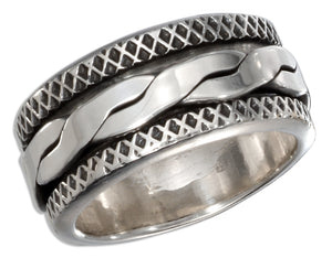 Sterling Silver Mens Antiqued Worry Ring with Twisted Spinning Band