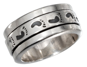 Sterling Silver Mens Worry Ring with Footprints Spinning Band