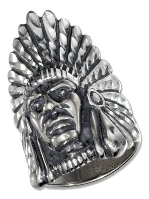 Sterling Silver Mens Indian Head Ring