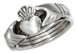 Sterling Silver Antiqued Heart in Hands Puzzle Ring