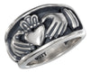 Sterling Silver Unisex Claddagh Heart in Hands Band Ring