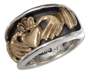 Sterling Silver Unisex Bronze Claddagh Heart in Hands Band Ring