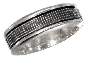 Sterling Silver Mens Antiqued Worry Ring with Beaded Spinning Band