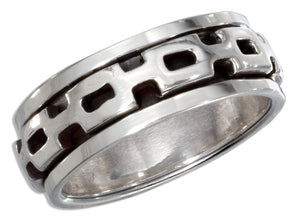 Sterling Silver Mens Worry Ring with Square Link Spinning Band