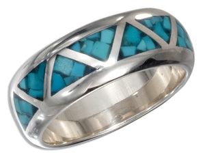 Sterling Silver Triangle Shaped Reconstituted Turquoise Inlay Wedding Band