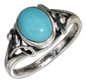 Sterling Silver Oval Reconstituted Turquoise Ring with Small Flower Scrolled Shank