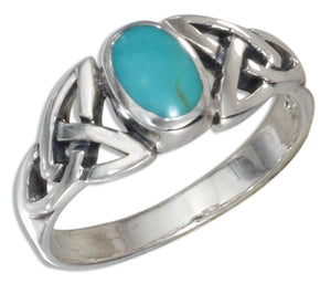 Sterling Silver Oval Simulated Turquoise Ring with Celtic Knots Shank
