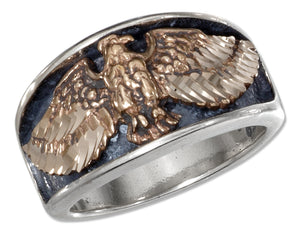 Sterling Silver Mens Bronze Eagle with Spread Wings Band Ring