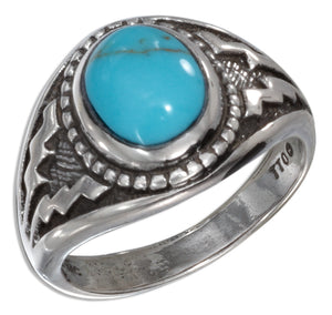 Sterling Silver Oval Reconstituted Turquoise with Wide Aztec Design Shank