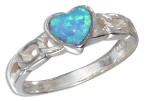 Sterling Silver Small Synthetic Blue Opal Heart Ring