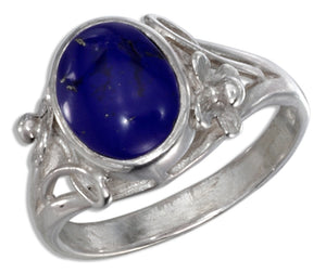 Sterling Silver Floral Oval Reconstituted Blue Stone Ring