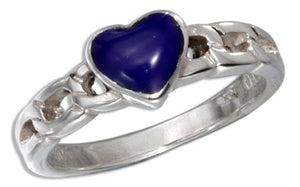 Sterling Silver Curb Link Reconstituted Blue Stone Heart Ring