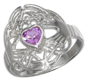 Sterling Silver Heart Shaped Amethyst Claddagh Ring