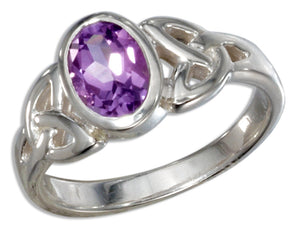 Sterling Silver Amethyst Celtic Trinity Knot Ring