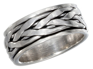 Sterling Silver Antiqued Braided Worry Ring