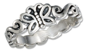 Sterling Silver Tiny Butterfly Ring with Scroll Band