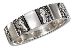 Sterling Silver Horse Head Band Ring