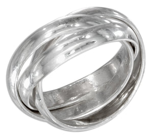 Sterling Silver 3mm High Polish Three Band Slide Ring