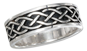 Sterling Silver 7mm Antiqued Celtic Braid Band Ring
