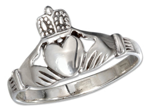 Sterling Silver Large Claddagh Heart in Hands Ring