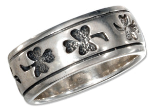 Sterling Silver Shamrock Band Ring with Antiqued Finish