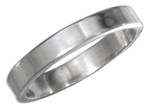 Sterling Silver Flat 4mm High Polish Wedding Band Ring
