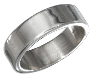 Sterling Silver Flat 6mm High Polish Wedding Band Ring