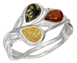 Sterling Silver Multicolor Amber Teardrop Open Weave Ring