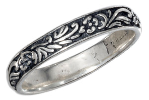 Sterling Silver 3mm Antiqued Floral Wedding Band Ring