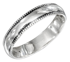 Sterling Silver 5mm Wedding Band Ring with Coin Edge