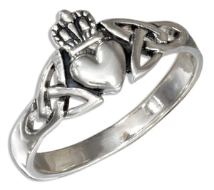 Sterling Silver Celtic Claddagh Ring with Surrounding Knot Work Design