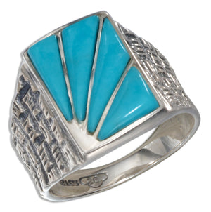 Sterling Silver Men's Reconstituted Turquoise Sunburst Ring