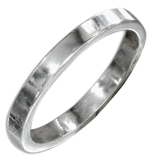 Sterling Silver Flat 2mm High Polish Wedding Band Ring