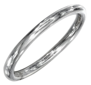Sterling Silver 2mm High Polish Round Tube Band Ring