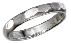 Sterling Silver 2.5mm Hammered Wedding Band Ring