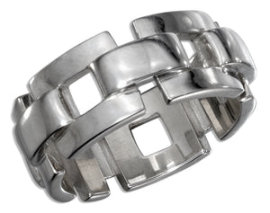 Sterling Silver Mens 10mm Chain Link Band Ring